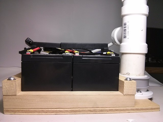 Fireworks Launcher - Left side view of computer and relay card battery bank